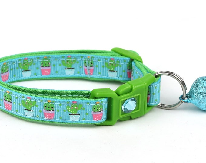 Cactus Cat Collar - Cute but Prickly on Blue  - Small Cat/ Kitten Size or Large Size Collar B28D41