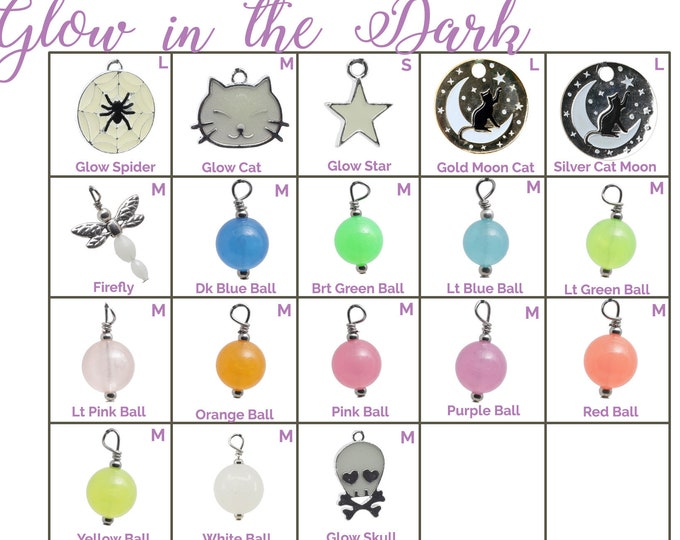Collar Charms - Glow in the Dark Charms  - Extra Charms for Cat Collars - Bling - Jewelry