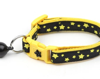 Star Cat Collar - Yellow Stars on Black - Small Cat / Kitten Size or Large Size