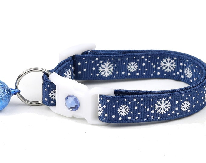 Snowflake Cat Collar -Snow Flurries on Navy - Breakaway Cat Collar - Kitten or Large Size
