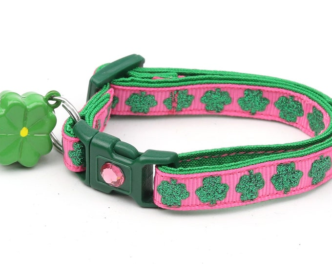 St. Patrick's Day Cat Collar - Glitter Shamrocks on Bright Pink - Small Cat / Kitten or Large Cat Collar