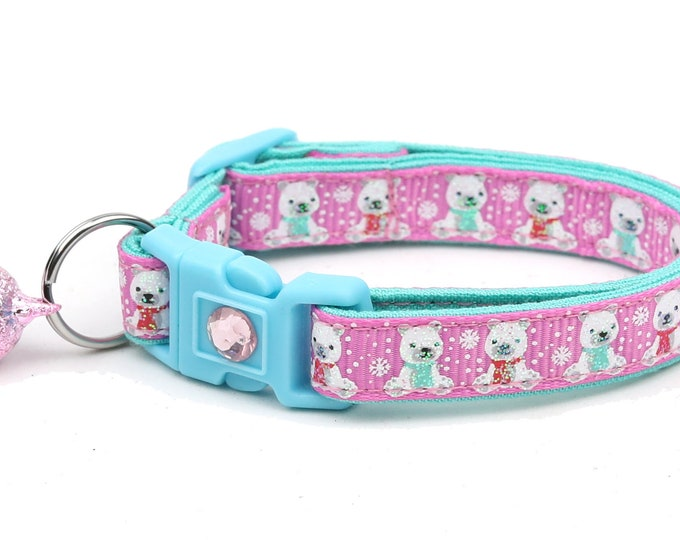 Polar Bear Cat Collar - Polar Bears on Pink - Breakaway Cat Collar - Kitten or Large Size