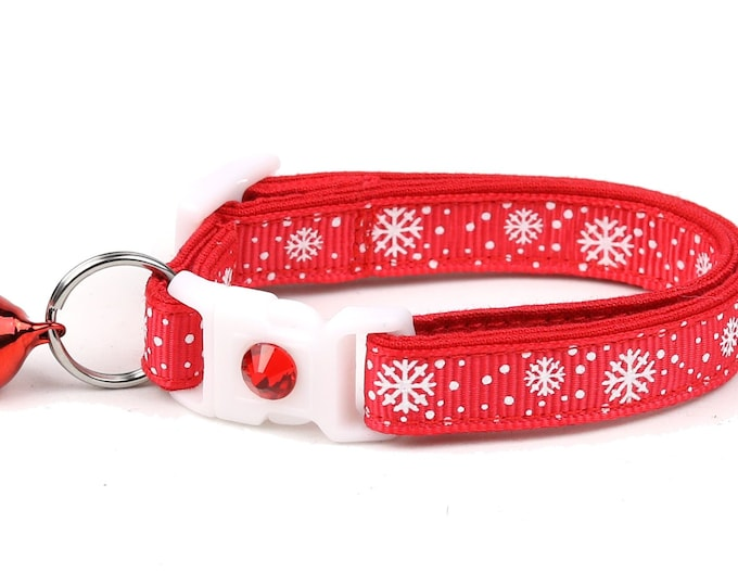 Snowflake Cat Collar -Snow Flurries on Red- Breakaway Cat Collar - Kitten or Large Size