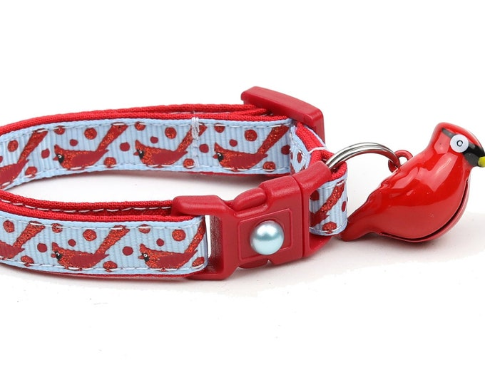 Bird Cat Collar - Red Cardinals on Blue - Small Cat / Kitten Size or Large Size