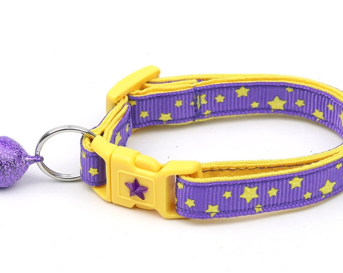 Star Cat Collar - Yellow Stars on Purple - Small Cat / Kitten Size or Large Size