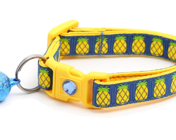 Fruit Cat Collar - Pineapples on Navy - Small Cat / Kitten Size or Large Size  B123D238