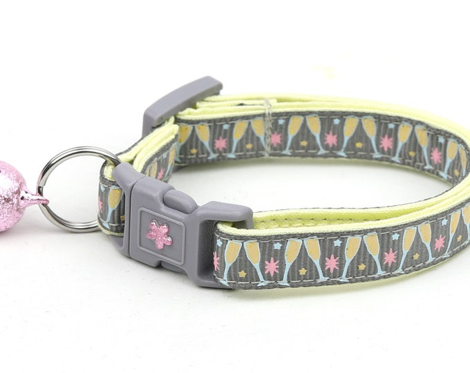 Champagne Cat Collar - Champagne Glasses on Silver - Small Cat / Kitten Size or Large Size