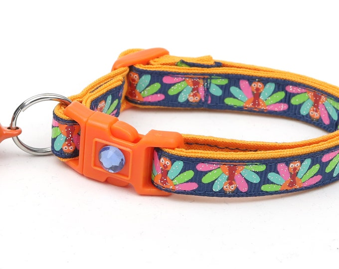 Thanksgiving Cat Collar - Colorful Turkeys on Navy - Small Cat / Kitten Size or Large Size