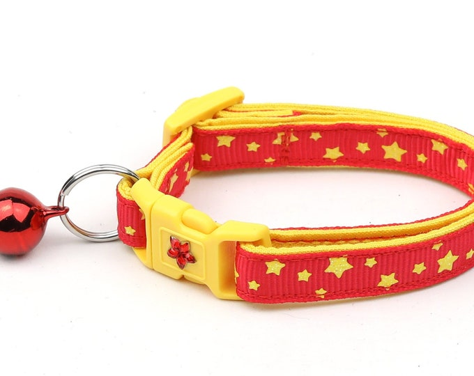 Star Cat Collar - Yellow Stars on Red - Small Cat / Kitten Size or Large Size