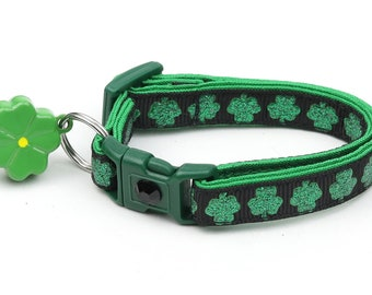 St. Patrick's Day Cat Collar - Glitter Shamrocks on Black - Small Cat / Kitten or Large Cat Collar D50