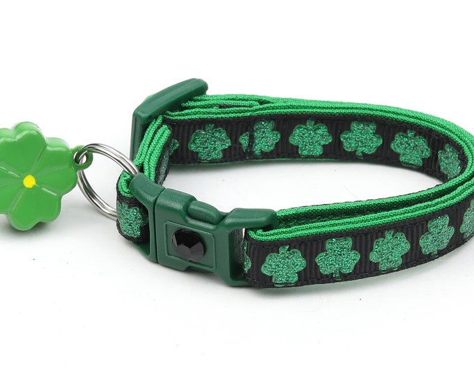 St. Patrick's Day Cat Collar - Glitter Shamrocks on Black - Small Cat / Kitten or Large Cat Collar