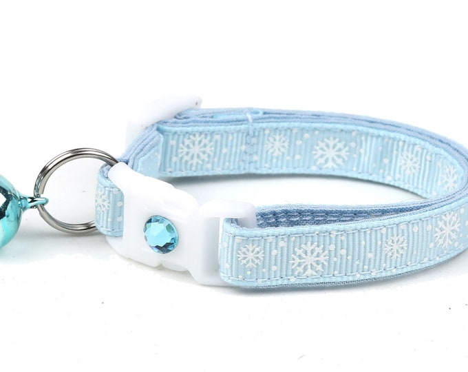 Snowflake Cat Collar -Snow Flurries on Powder Blue - Breakaway Cat Collar - Kitten or Large Size
