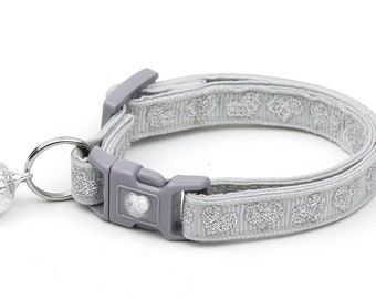 Valentines Day Cat Collar - Silver Glitter Hearts - Kitten or Large Size
