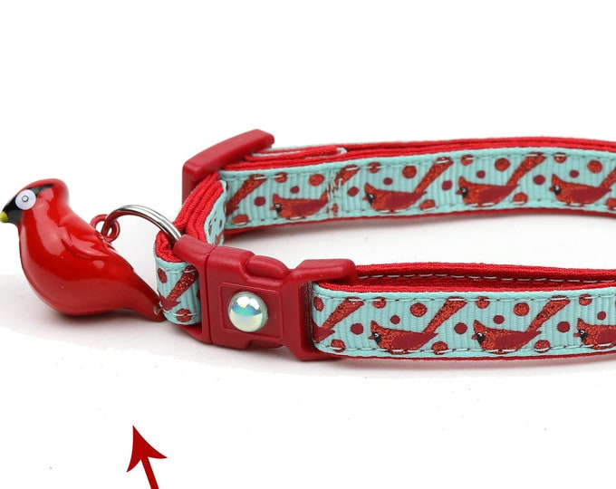 Bird Cat Collar - Red Cardinals on Aqua - Small Cat / Kitten Size or Large Size
