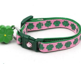 St. Patrick's Day Cat Collar - Glitter Shamrocks on Light Pink - Small Cat / Kitten or Large Cat Collar D50