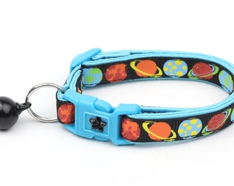 Space Cat Collar - Planets on Black - Breakaway Cat Collar - Kitten or Large size
