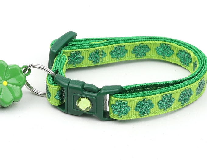 St. Patrick's Day Cat Collar - Glitter Shamrocks on Light Green - Small Cat / Kitten or Large Cat Collar