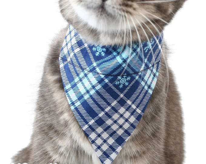 Pet Bandana - Winter Snowflake Plaid - Pet Scarf - Collar Cover - Winter