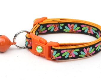 Thanksgiving Cat Collar - Colorful Turkeys on Black - Small Cat / Kitten Size or Large Size B40D123