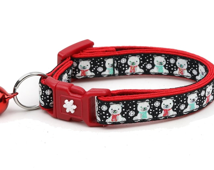 Polar Bear Cat Collar - Polar Bears on Black - Breakaway Cat Collar - Kitten or Large Size