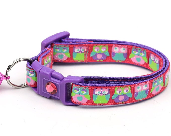 Owl Cat Collar - Colorful Owls on Bright Pink - Safety Breakaway - Small Cat / Kitten Size or Large Size