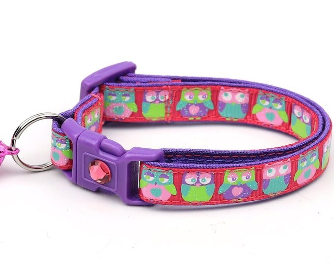 Owl Cat Collar - Colorful Owls on Bright Pink - Small Cat / Kitten Size or Large Size