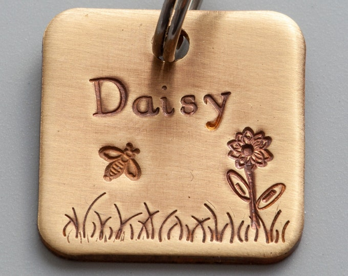 "Daisy & Bee Pet Tag - Flower pet tag - 7/8"" brass Pet ID Tag - Hand Stamped Cat ID Tag -Dog tag - pet tag - Brass (gold color) tag"