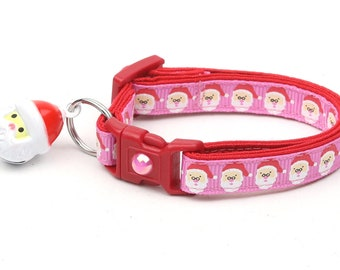 Christmas Cat Collar - Jolly Santa Faces on Pink - Kitten or Large Size
