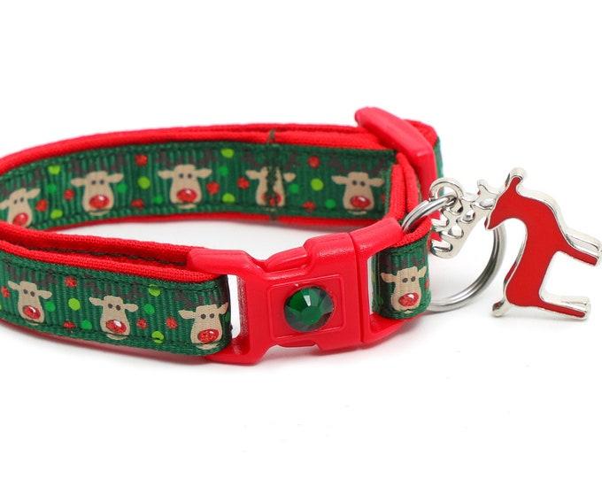 Christmas Cat Collar - Jolly Reindeer on Green - Small Cat / Kitten Size or Large(standard) Size Collar B23D46