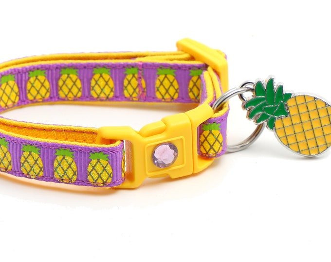 Fruit Cat Collar - Pineapples on Purple - Small Cat / Kitten Size or Large Size  B132D238