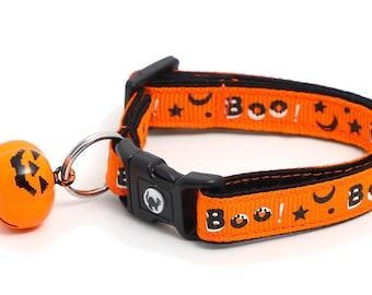 Halloween Cat Collar - Boo on Orange - Large Size or Small Cat / Kitten Size B12D247