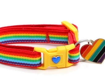 Rainbow Cat Collar - Retro Rainbow Stripe - Small Cat / Kitten Size B40D255