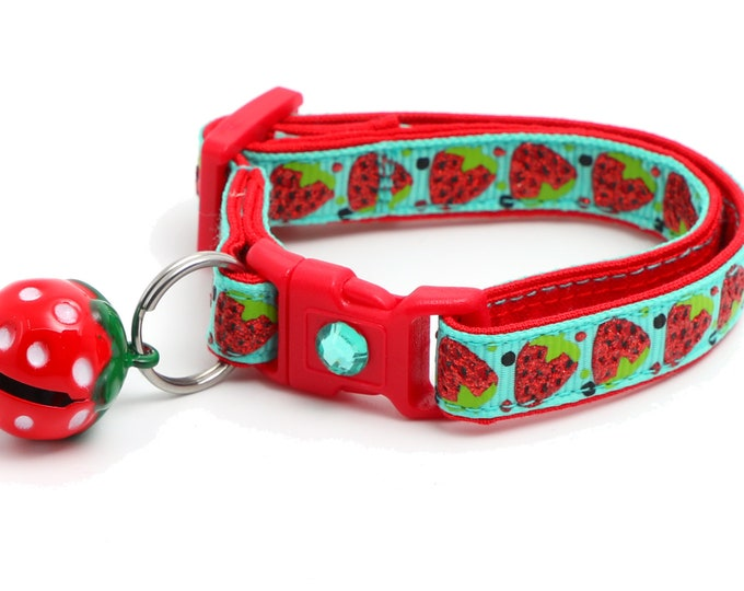 Strawberry Cat Collar - Strawberries on Aqua - Small Cat / Kitten Size or Large Size B133D23