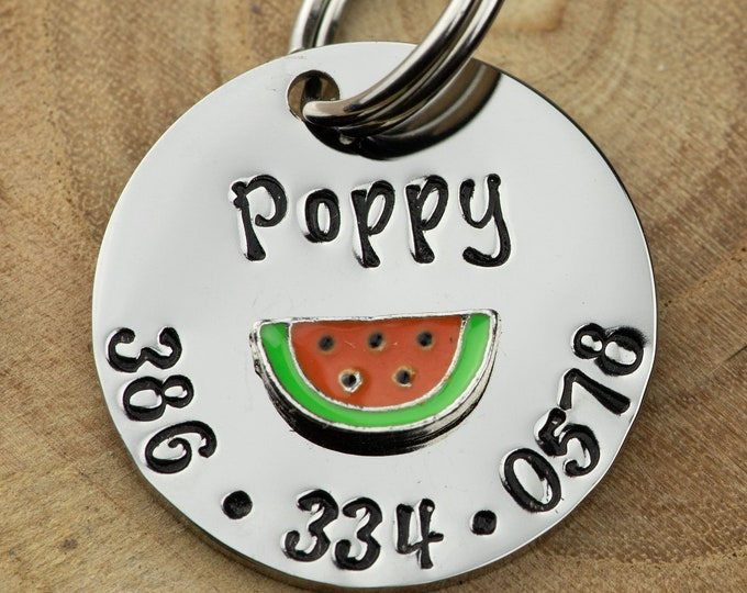 "Watermelon ID Tag -  Cat/dog Tag - 7/8"" Stainless Steel Pet ID Tag - melon Identification tag - Personalized Cat ID Tag - Custom Pet Tag"