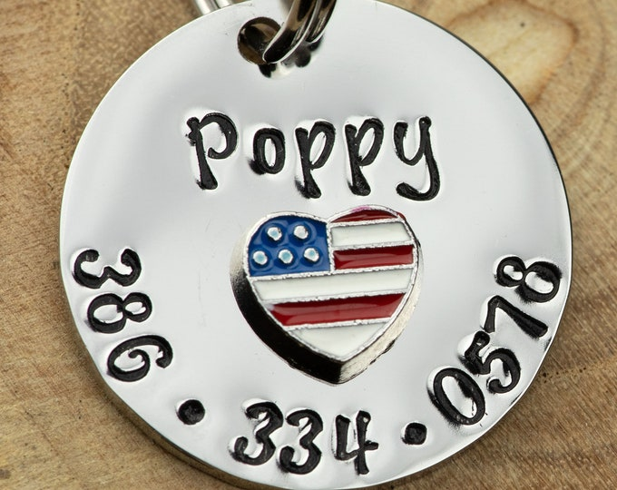 "Patriotic ID Tag -  Cat/dog Tag - 7/8"" Stainless Steel Pet Tag - USA heart Identification tag - Personalized Cat ID Tag - Custom Pet Tag"