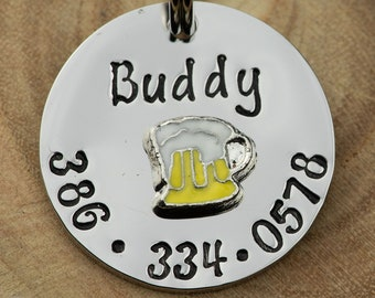 """Beer ID Tag -  Cat/dog Tag - 7/8"""" Stainless Steel Pet ID Tag - Beer Identification tag - Personalized Cat ID Tag - Custom Pet Tag"""