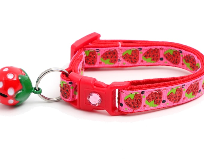 Strawberry Cat Collar - Strawberries on Pink - Small Cat / Kitten Size or Large Size B127D23