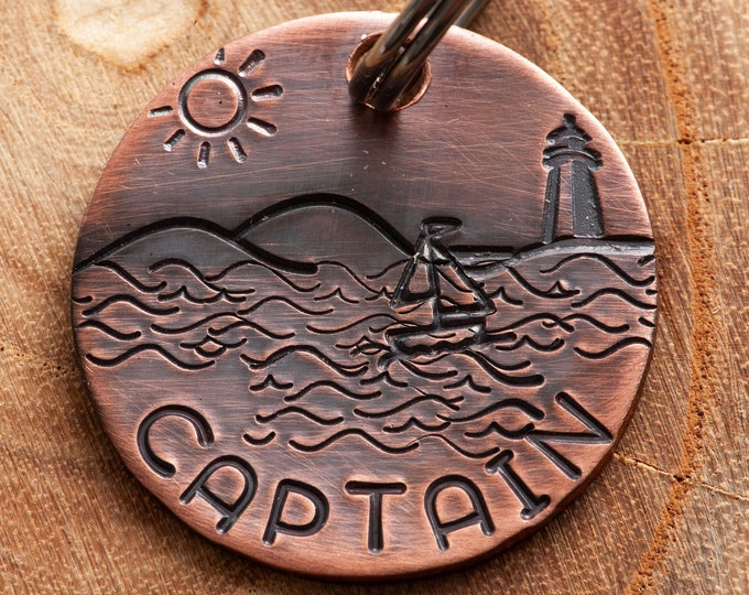 Nautical Pet ID tag - Lighthouse Dog Name Tag - Sailor Stamped Cat ID Tag -- Boat ID Tag -- Ocean Pet Tag -- Custom Pet Tag
