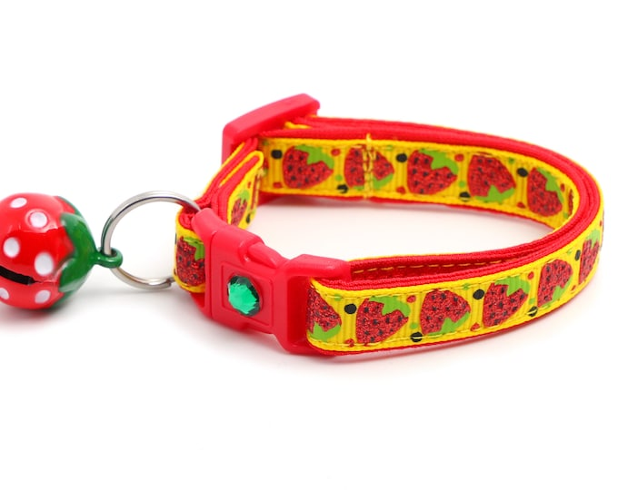 Strawberry Cat Collar - Strawberries on Yellow - Small Cat / Kitten Size or Large Size B64D23