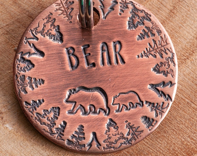 Bears Pet ID tag - Grizzly Dog Name Tag - Adventure Stamped Cat ID Tag -- Wilderness ID Tag -- Trees Tag -- Custom Pet Tag