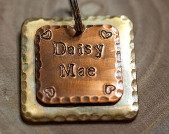 "Custom Dog Tag - 1"" Square Brass and Copper Dog ID Tag - Hand Stamped Cat Id Tag"