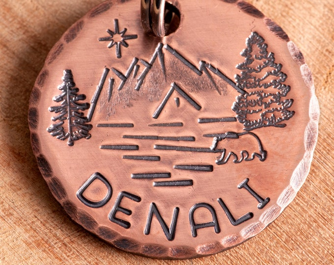 Mountains Pet ID tag - Denali Dog Name Tag - Adventure Stamped Cat ID Tag -- Lake ID Tag -- Trees Tag -- Custom Pet Tag