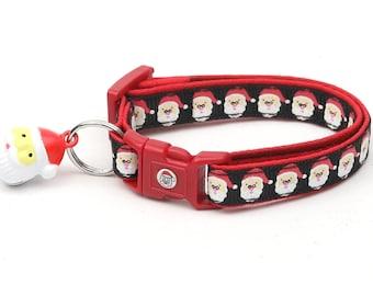 Christmas Cat Collar - Jolly Santa Faces on Black - Kitten or Large Size