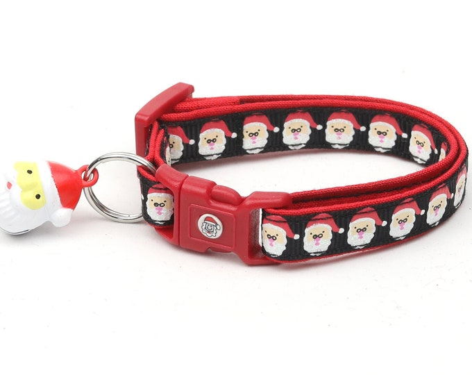 Christmas Cat Collar - Jolly Santa Faces on Black - Kitten or Large Size