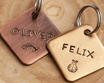 Small ID tag•Pick your design•Simple Cat Name Tag•Hand Stamped Cat ID Tag•Small Dog Name Tag•Small Name Tag•Custom Pet Tag•Brass or Copper