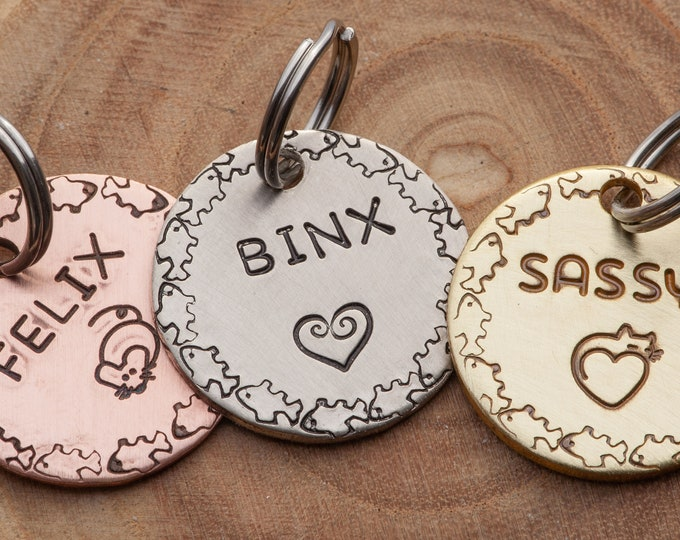 Small Cat ID tag•Pick your design•Simple Cat Name Tag•Hand Stamped ID Tag•Small Cat Name Tag•Small Name Tag•Custom Pet Tag•Brass or Copper