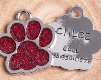 Glittery Paw ID Tag,  Cat/dog Tag, Red Sparkle Pet ID Tag, Cat Paw Identification, Personalized Cat ID Tag, Custom Pet Tag, Dog Tag