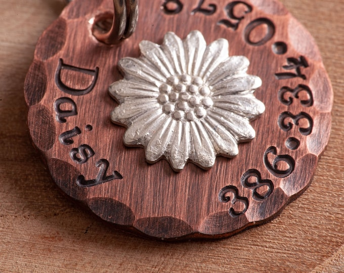 "Custom Pet Tag - Cat size Daisy ID Tag - 7/8"" Copper Cat ID Tag - Hand Stamped Dog ID Tag - Flower Pet Tag - Cat name tag"