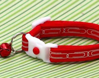 Office Cat Collar - Paper Clip Chain - Small Cat / Kitten Size or Large Size B49