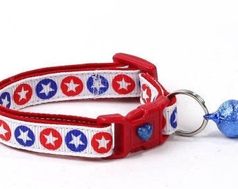 Fourth of July Cat Collar - Star Spangled - American Flag - Kitten or Large Size B78D95